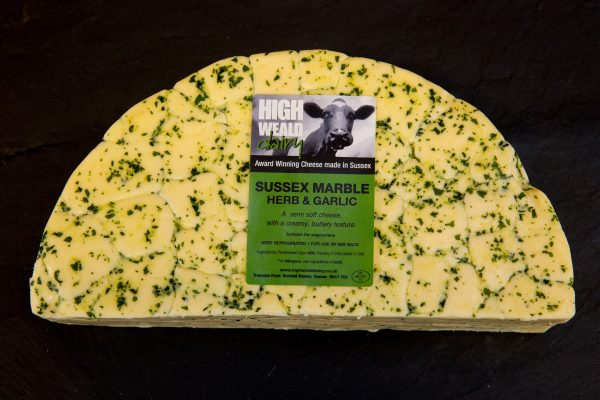 High Weald Dairy Sussex Marble Herb and Garlic half wheel 1.5kg